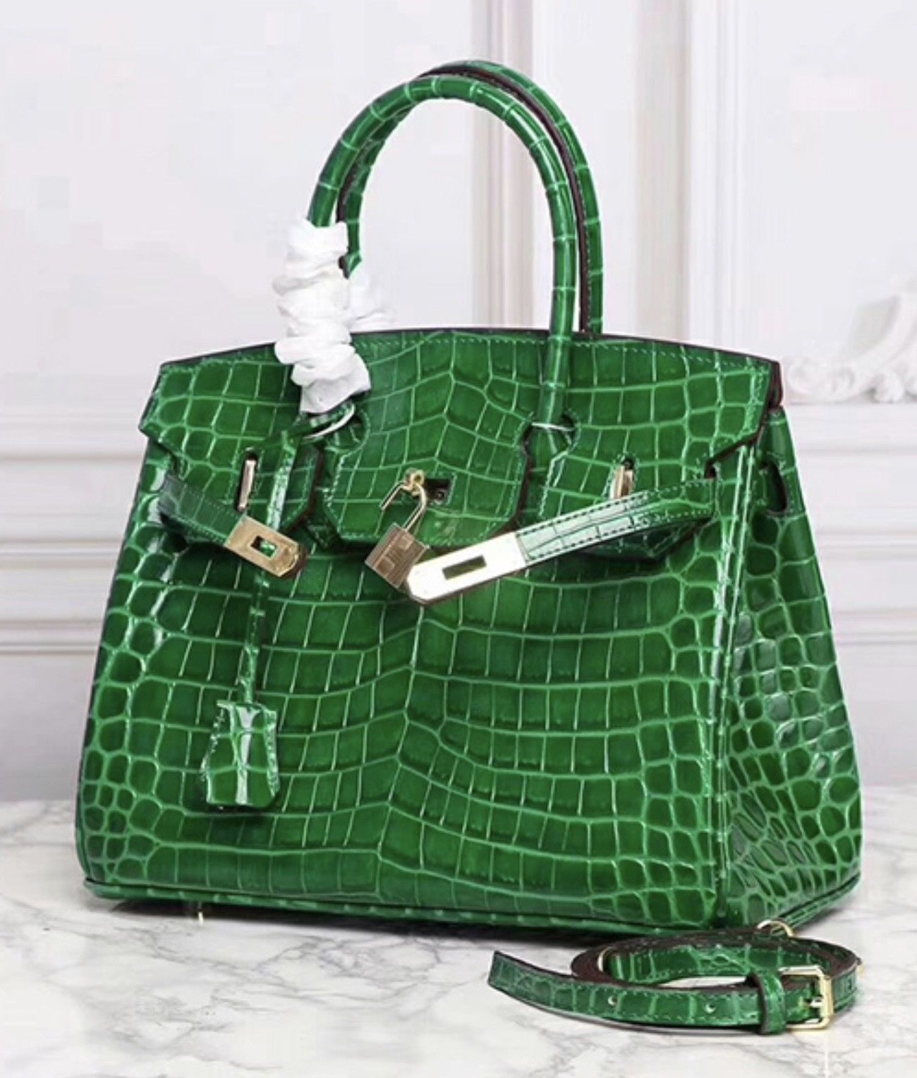 30 cm Crocodile Embossed Italian Leather Lock and Key Satchel Celebrity Handbag