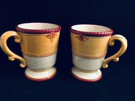 """Fitz and Floyd Hawthorne Collectibles Gold Footed  Mugs 3-3/4"""" Diameter 4.75"""" H - $25.74"""