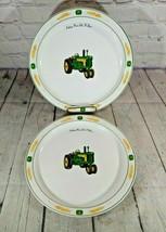 "Set of 2 John Deere 11"" Dinner Plates Green Strips Wheat Trim 730 Diesel Gibson - $29.69"