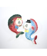 PY Fish Wall Decor, Anthropomorphic, Wall Plaques, Set of Two, Rhineston... - $145.00