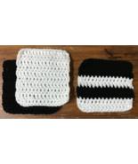 White and Black Crochet Dish Cloth Set of 3 - Handmade - $7.50