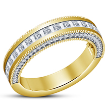 14k Yellow Gold Over 925 Silver Women's Wedding Band Ring Princess Cut White CZ - $73.99