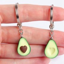 2PCS Simulation Fruit Avocado Heart Friendship Couple Keychain Keyring Jewelry