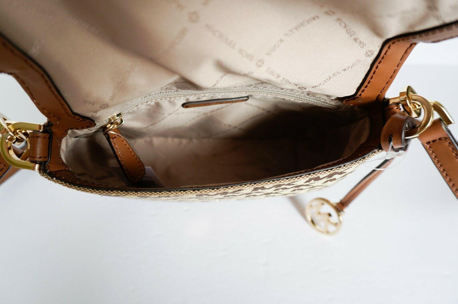Michael Kors Bedford Small Flap Crossbody Jacquard Leaher Bag MK Beige Brown image 7