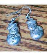 Sterling Silver Snowman Earrings 925 - $19.99