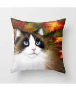 Throw Pillow Cushion case Made in USA Cat 566 fall autumn art painting L... - $29.99+
