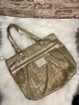 AUTHENTIC COACH POPPY LUREX GOLD SIGNATURE HEART METALLIC GLAM TOTE LARG... - $99.00