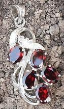 Pendant Natural cut Garnet Gemstone Sterling Silver 925 Handmade oval 667 - $23.84