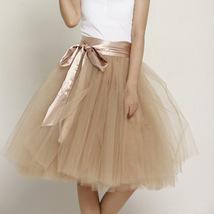 Women PEACH PINK Tulle Skirt 6 Layer Knee Length Tulle Skirt Midi Cocktail Skirt image 9