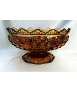 FENTON Amber Glass Hobnail Crown Pillar / Taper Candle Holder, Patent No... - $19.50