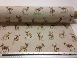 Stag & Deer Brown Beige Linen Look High Quality Fabric Material 3 Sizes - $3.06+