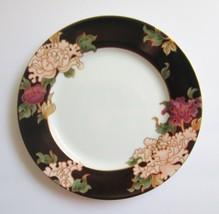 Fitz & Floyd Fine China CLOISONNE PEONY Black Salad Plates Mint - $11.87