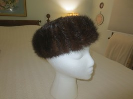 "GLENOVER Henry Pollak N.Y. BROWN MINK FUR PILLBOX HAT - 21.25"" Inner Mea... - $19.80"
