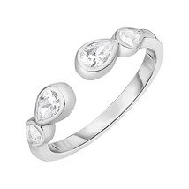 Toe Ring with Teardrops in Sterling Silver with Cubic Zirconia - $18.91
