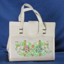 Enid Collins de Texas Orné Floral Toile Cuir Main Laiton Matériel Vintage - $150.71