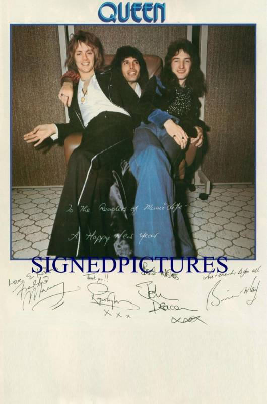 QUEEN BAND SIGNED AUTOGRAPHED RP PHOTO FREDDIE MERCURY MAY DEACON AND TAYLOR