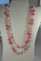 Vintage 2 Strand Pink Bead Necklace 20 inches Long - $10.88
