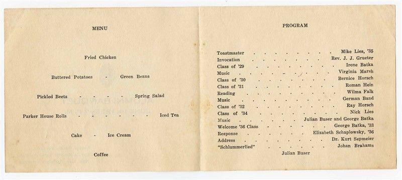 1936 Alumni Banquet Menu & Program Andale Kansas
