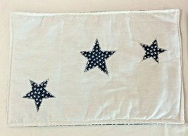 Table Mat Stars White Blue Patriotic Appliqued Handmade New Crafts - $4.95