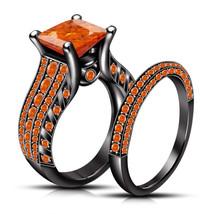 Orange Sapphire Womens Bridal Ring Set 14k Black Finish 925 Sterling Rea... - $102.99