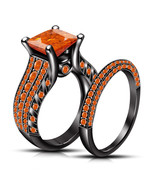 Orange Sapphire Womens Bridal Ring Set 14k Black Finish 925 Sterling Rea... - £63.50 GBP