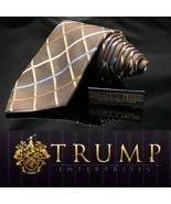 DONALD J TRUMP BROWN BLUE CREAM CROSS HATCH 100% SILK TIE NECKTIE EXECUT... - $101.20