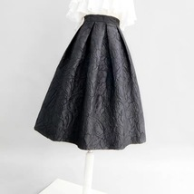 Women Black A-line Midi Skirt Outfit Plus Size High Waist Party Skirt  image 5