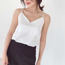 V-Neck Sleeveless Chiffon Tank Top Summer Women's Chiffon Sleeveless Top Blouse image 4