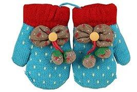 Durable Lovely Pattern Warm Gloves Useful Woolen Winter Baby Mittens 137CM Blue