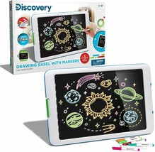 Discovery Kids Neon Glow Drawing Easel with Color Markers and 5 Light Modes - $39.59