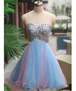 Shiny Beaded Crystal Short Cocktail Dresses  Strapless Girls Party Gowns... - $110.00