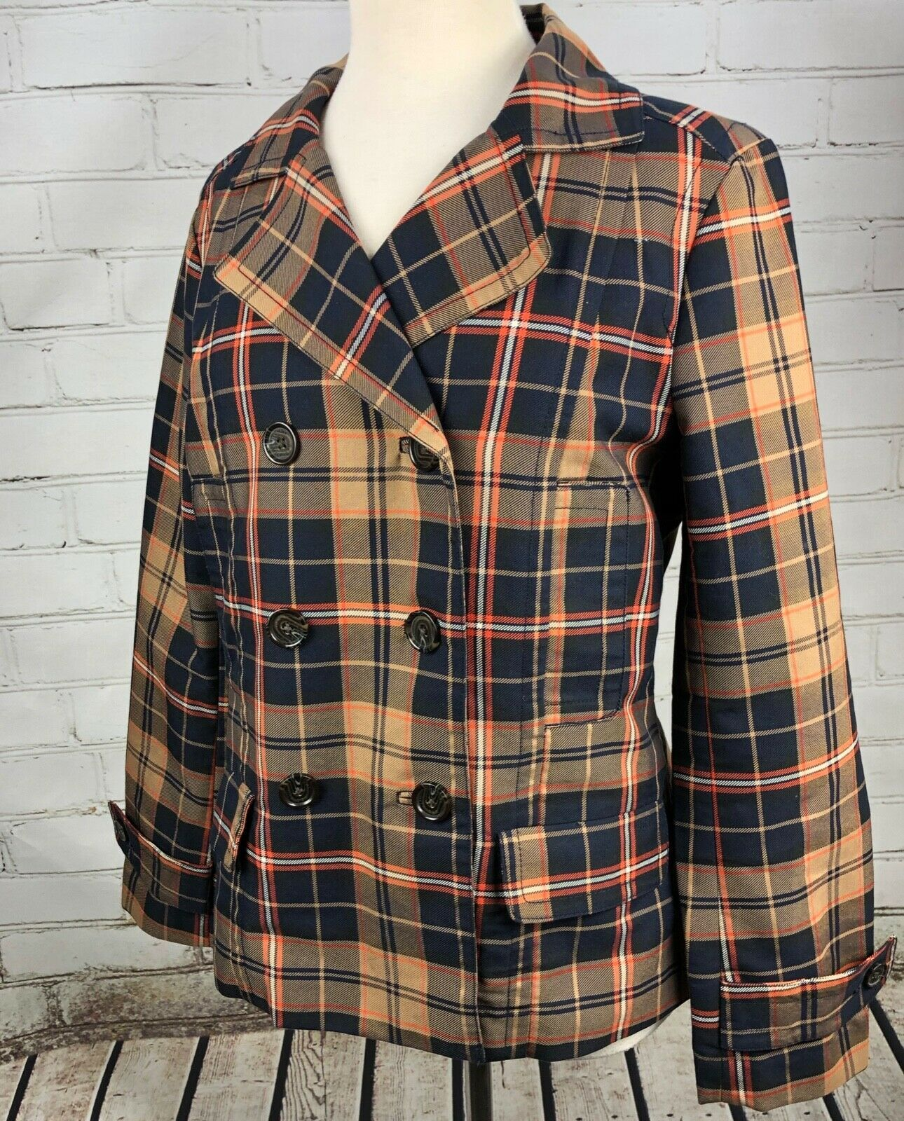 Tommy Hilfiger Jacket Plaid Lightweight Pea Coat Trench Fall Plaid Cotton Size M