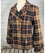 Tommy Hilfiger Jacket Plaid Lightweight Pea Coat Trench Fall Plaid Cotto... - $831,58 MXN