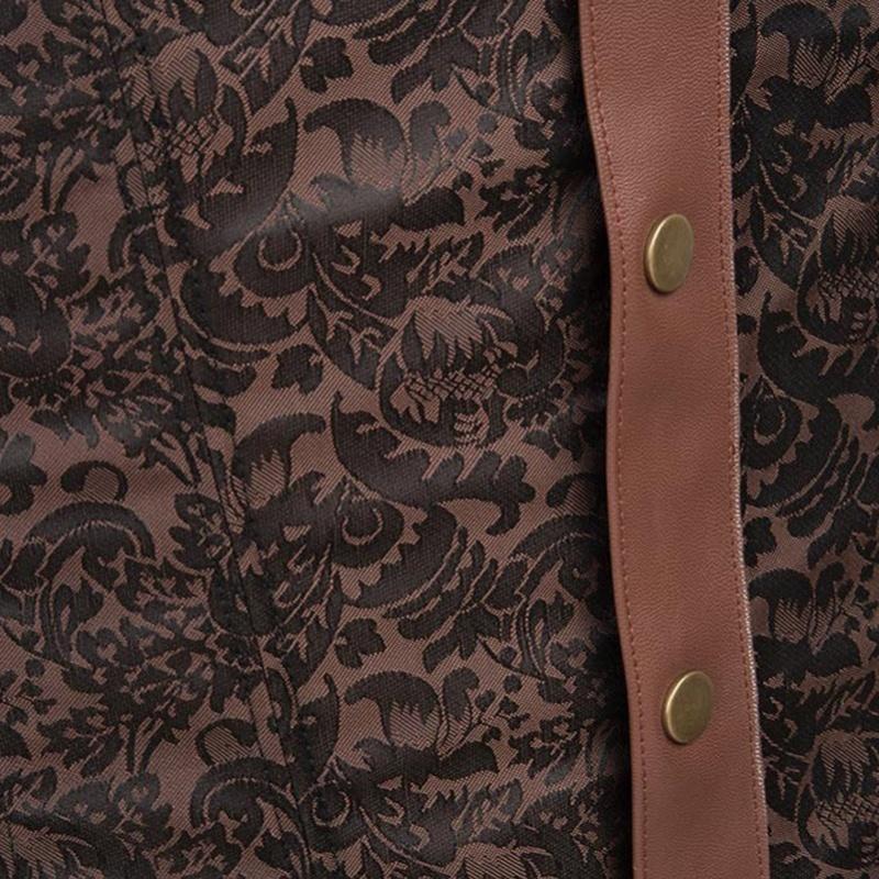 Brown Faux Leather One Shoulder Steampunk Mens Corset Vest Waist Trainer Steel B