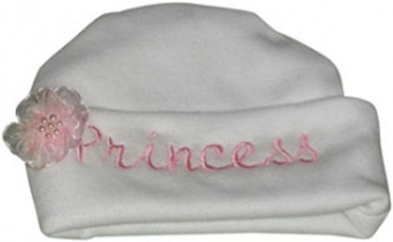 Preemie & Newborn Embroidered White Princess Hat