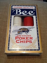 Casino Quality - Bee - 100 Count Engraved Poker Chips - Red, Ivory & Blue - $14.95
