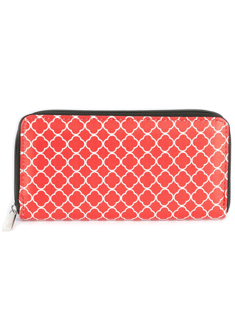 Quatrefoil Print Zip Around Wallet Clutch Purse Red