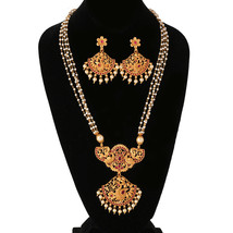 Cz Pink Stone Peacock Designs With Pearls Matte Gold Finish Bridal Necklace Set - $35.63