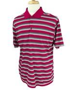 Nike Golf Men's Standard Fit Short Sleeve Dark Pink Stripe Polo Shirt Large - $21.77