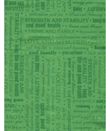 Half Yard, Impossible Find, Green Tonal, Words Like, Family Love Affecti... - $3.30