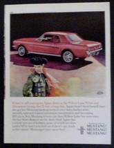 1965 Mustang Hardtop Print Ad red Ford car automobile with Agnes - $12.95