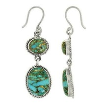 925 Sterling Silver Double Turquoise Dangle Drop Statement Earring - $19.86