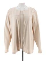 Denim & Co Novelty Zipper Front Jacket Short Slv T-Shirt Natural 1X NEW ... - $34.63