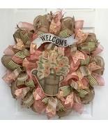 Distressed Watering Can Welcome Wreath Handmade Deco Mesh - $92.99