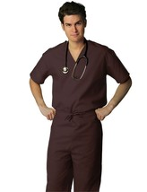 Brown Scrub Set 2XL V Neck Top Drawstring Pants Unisex Uniforms 2 Piece New - $34.89