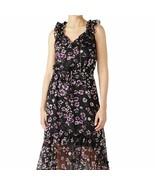 Women's Misa Los Angeles Black Floral Print Ruffle Dress sz M - $58.05