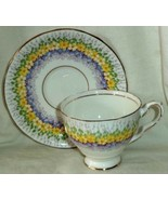 Royal Stafford Footed Cup & Saucer Glendale Yellow & Blue Made in England - $25.64