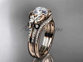 Butterfly ring 14kt rose ld diamond unique wedding ring set ADLR514S - $2,195.00