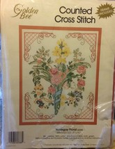 "Floral Nosegay Counted Cross Stitch Kit with Frame Golden Bee 8"" x 10"" N... - $9.89"