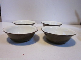 4 VINTAGE RED STONEWARE BROWN GLAZE FRUIT BOWLS - $9.99